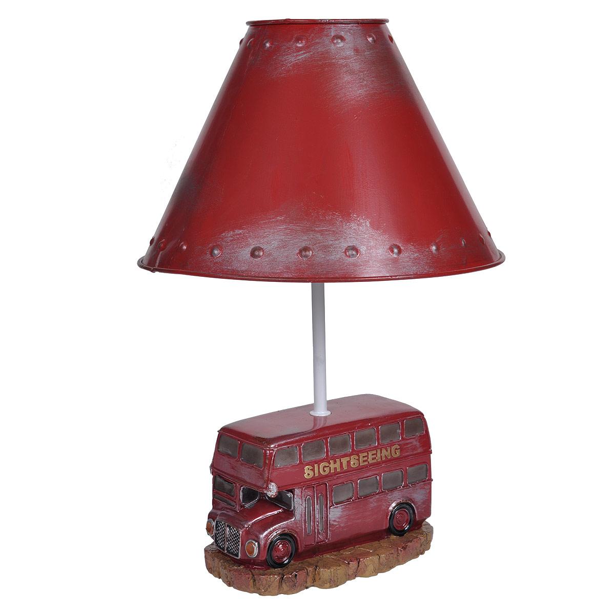 Светильник настольный Красный автобус. 2933929339Настольный светильник, изготовленный из полирезины, выполнен в виде двухэтажного красного автобуса и оформлен металлическим абажуром красного цвета. Такой светильник прекрасно подойдет для украшения интерьера и создания атмосферы тепла и уюта. Внутри светильника расположена лампа накаливания. Светильник работает от электросети и включается при помощи кнопки на шнуре.