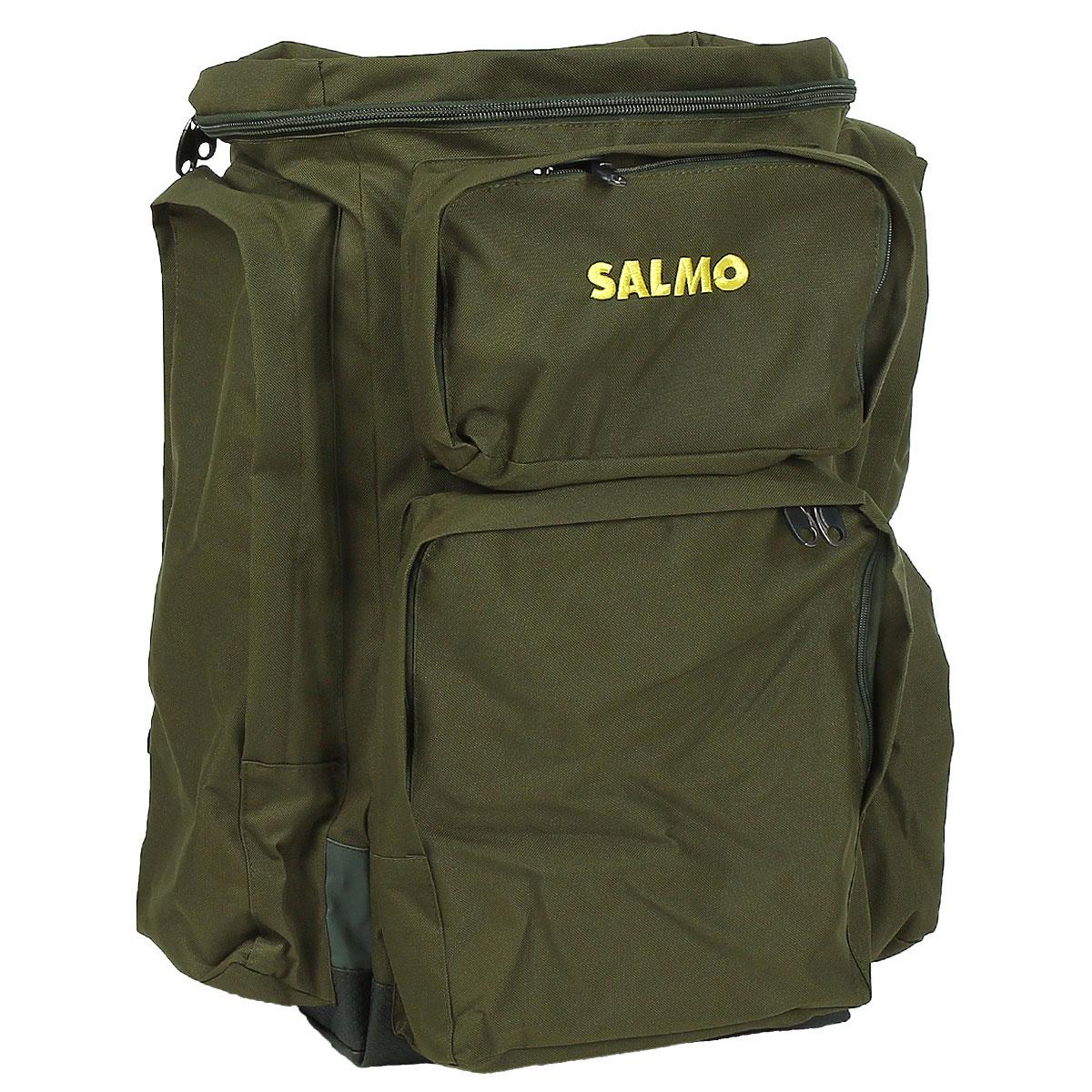 Рюкзак рыболовный Salmo 105 л, цвет: зеленый800802Рюкзак Salmo специально создан для рыболовного туризма. Он имеет отделение для вещей на 105 литров, жесткую спинку, мягкие удобные регулируемые лямки и усиленное дно с опорами.
