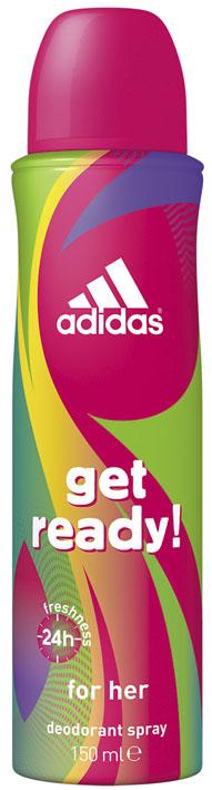 Adidas Дезодорант-спрей Get Ready!, женский, 150 млMP59.4DДезодорант-спрей Adidas Get Ready! для нее - это прекрасное сочетание ухода и защиты от пота. Легкий цветочно-фруктовый аромат, его яркое звучание придется по вкусу активным и жизнерадостным девушкам! Пирамида аромата:Верхние ноты: арбуз, гранат, бразильский апельсин. Ноты сердца: молекула Karmaflor, водяная лилия, сахарный бамбук. Базовые ноты: кедровые и мускусные ноты, амбра. Характеристики:Объем: 150 мл.Товар сертифицирован.