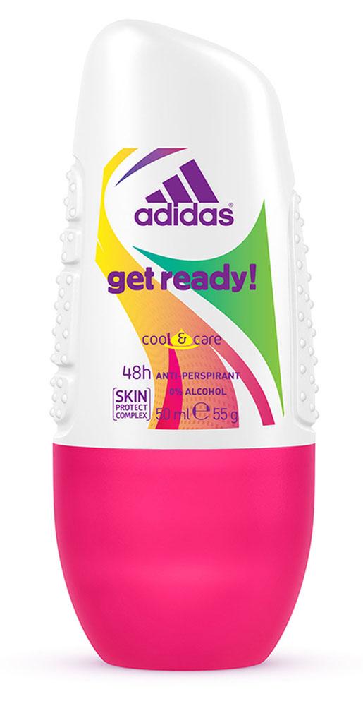 Adidas Дезодорант шариковый Get Ready! Cool & Care, женский, 50 мл34000936765Шариковый дезодорант-антиперспирант Adidas Get Ready! Cool & Care для нее - это прекрасное сочетание ухода за кожей и защиты от пота на 48 часов! Легкий цветочно-фруктовый аромат, его яркое звучание придется по вкусу активным и жизнерадостным девушкам! Не содержит спирт. Быстро сохнет. Минимизирует появление белых пятен на коже и одежде. Характеристики: Объем: 50 мл. Товар сертифицирован.