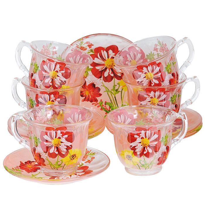 Набор чайный Bekker, 12 предметов. BK-5841CM000001328Чайный набор Bekker состоит из шести чашек и шести блюдец. Предметы набора изготовлены из высококачественного стекла и оформлены ярким цветочным рисунком.Изящный дизайн придется по вкусу и ценителям классики, и тем, кто предпочитает утонченность и изысканность. Он настроит на позитивный лад и подарит хорошее настроение с самого утра. Набор упакован в подарочную коробку в форме сердца. Внутренняя часть коробки задрапирована белой атласной тканью. Каждый предмет надежно зафиксирован внутри коробки благодаря специальным выемкам.Чайный набор - идеальный и необходимый подарок для вашего дома и для ваших друзей в праздники, юбилеи и торжества! Он также станет отличным корпоративным подарком и украшением любой кухни. Характеристики:Материал: стекло. Диаметр чашки по верхнему краю: 9 см. Высота чашки: 7,5 см. Объем чашки: 220 мл. Диаметр блюдца: 14 см.