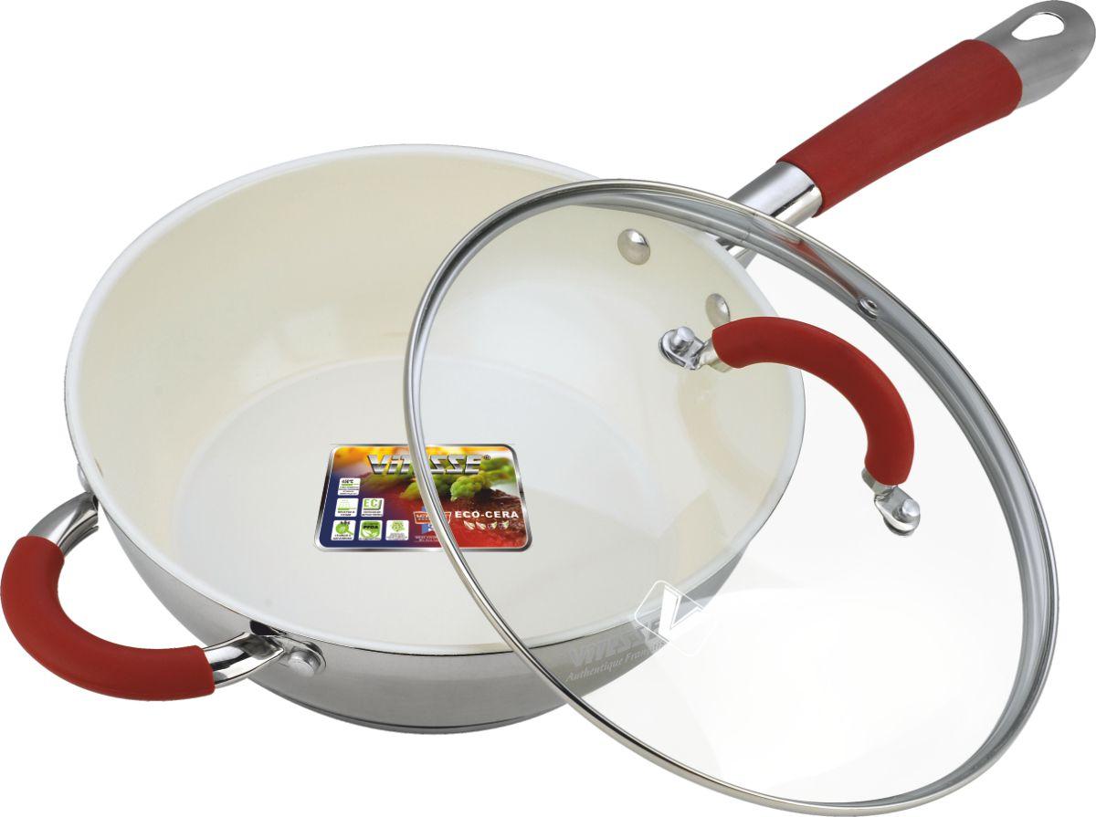 Сковорода Vitesse Arch с крышкой, с керамическим покрытием. Диаметр 24 смVS-2037Сковорода Vitesse Arch изготовлена из высококачественной нержавеющей стали 18/10 с комбинированной полировкой. Внутреннее керамическое покрытие Eco-Cera, позволяющее готовить при высоких температурах, не оставляет послевкусия, делает возможным приготовление блюд без масла, сохраняет витамины и питательные вещества. Покрытие устойчиво к царапинам и механическим повреждениям. Безопасно для человека, не содержит PFOA. Многослойное термоаккумулирующее дно с алюминиевой прослойкой обеспечивает равномерное распределение тепла. Сковорода оснащена прочной ручкой из нержавеющей стали с силиконовым покрытием. Крышка из термостойкого стекла снабжена металлическим ободом, удобной стальной ручкой и отверстием для выпуска пара. Такая крышка позволит следить за процессом приготовления пищи без потери тепла. Она плотно прилегает к краям сковороды, сохраняя аромат блюд. Сковорода Vitesse Arch подходит для использования на всех типах кухонных плит,...