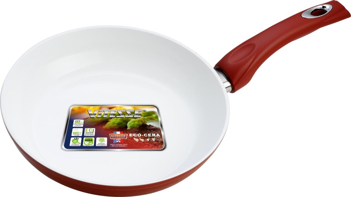 Сковорода Vitesse, с керамическим покрытием, цвет: красный. Диаметр 26 см. VS-2292VS-2292Сковорода Vitesse изготовлена из высококачественного кованого алюминия, что обеспечивает равномерное нагревание и доведение блюд до готовности. Внешнее термостойкое покрытие красного цвета обеспечивает легкую чистку. Внутреннее керамическое покрытие Eco-Cera белого цвета абсолютно безопасно для здоровья человека и окружающей среды, так как не содержит вредной примеси PFOA и имеет низкое содержание CO в выбросах при производстве. Керамическое покрытие обладает высокой прочностью, что позволяет готовить при температуре до 450°С и использовать металлические лопатки. Кроме того, с таким покрытием пища не пригорает и не прилипает к стенкам. Готовить можно с минимальным количеством подсолнечного масла. Сковорода оснащена термостойкой ненагревающейся ручкой удобной формы, выполненной из бакелита с силиконовым покрытием. Можно использовать на газовых, электрических, стеклокерамических, галогенных, чугунных конфорках. Можно мыть в посудомоечной машине. Характеристики: ...