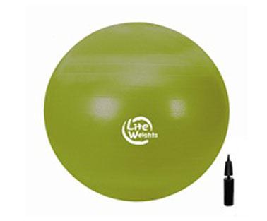 Мяч гимнастический Lite Weights, цвет: зеленый, диаметр 65 см1866LWМяч гимнастический Lite Weights является универсальным тренажером для всех групп мышц, помогает развить гибкость, исправить осанку, снимает чувство усталости в спине. Незаменим на занятиях фитнесом и лечебной физкультурой. Главная функция мяча - снять нагрузку с позвоночника и разгрузить суставы. Снабжен системой Антивзрыв - специальная технология, предупреждающая мяч от разрыва при сильной нагрузке. Нагрузка на мяч до 100 кг. Поставляется в сдутом виде в комплекте с ручным насосом.