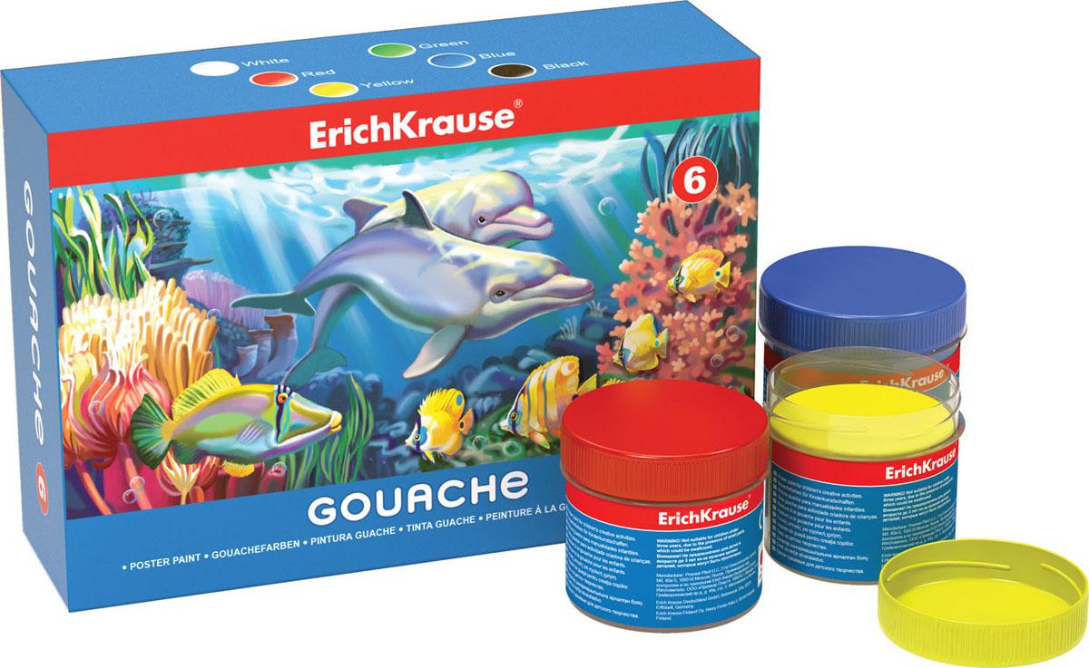 Гуашь Erich Krause, 6 цветов, 100 мл35118Гуашь Erich Krause предназначена для декоративно-оформительских работ и творчества детей. В набор входят краски 6 ярких цветов: белого, красного, зеленого, синего, желтого, черного. Каждая баночка с гуашью закрывается винтовой крышкой. Краски легко наносятся на бумагу и картон, они легко размываются водой и быстро сохнут. Рисование не просто подарит радость вашему малышу, но и поможет ему стать более усидчивым и наблюдательным, развивая способность видеть мир во всех его красках и оттенках. Размер баночки с краской: 3,5 см x 3,5 см x 4 см.