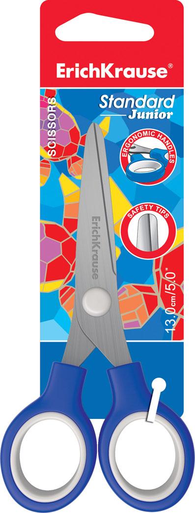 Ножницы канцелярские Erich Krause Standard Junior, 13 см35505Ножницы Erich Krause Standard Junior с безопасными закругленными концами идеально подойдут для резки всех обычных материалов - бумаги, ткани и т.д. Эргономично разработанные ручки с прорезиненными кольцами очень удобны для захвата. Стальные лезвия плотно прилегают друг к другу.