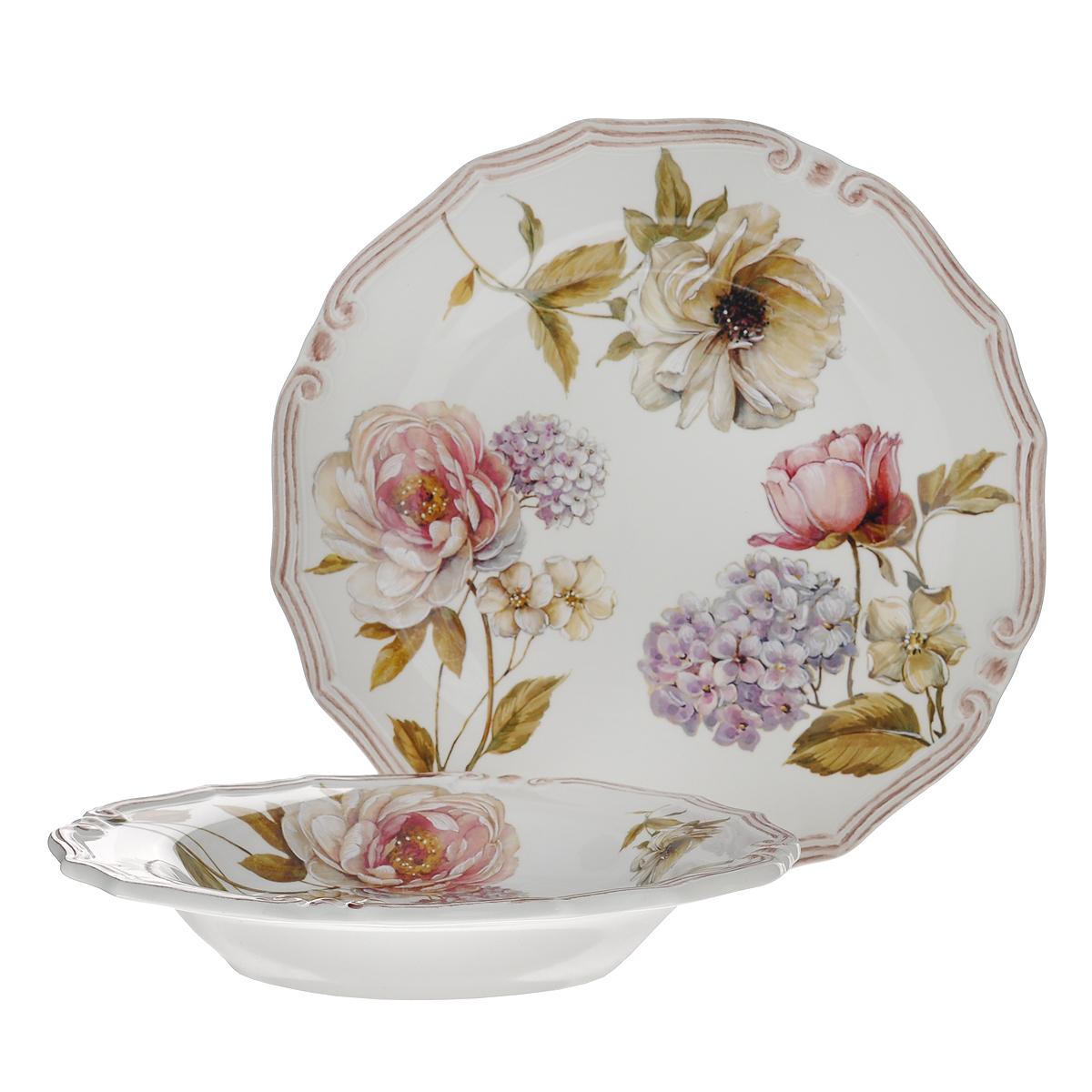 Набор тарелок LCS Сады Флоренции, 2 шт. LCS053-BO-ALLCS053-BO-ALНабор LCS Сады Флоренции состоит из суповой тарелки и обеденной тарелки. Предметы набора выполнены из высококачественной керамики и оформлены нежным цветочным рисунком. Красочность оформления придется по вкусу и ценителям классики, и тем, кто предпочитает утонченность и изящность. Сервировка стола таким набором станет великолепным украшением любого торжества. Характеристики: Материал: керамика. Диаметр суповой тарелки: 24 см. Высота суповой тарелки: 4 см. Диаметр обеденной тарелки: 26 см. LCS - молодая, динамично развивающаяся итальянская компания из Флоренции, производящая разнообразную керамическую посуду и изделия для украшения интерьера. В своих дизайнах LCS использует как классические, так и современные тенденции. Высокий стандарт изделий обеспечивается за счет соединения высоко технологичного производства и использования ручной работы профессиональных дизайнеров и художников, работающих на фабрике.