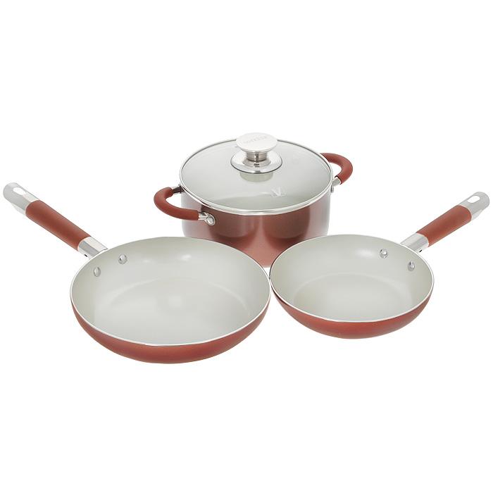 Набор посуды Vitesse Athena, с керамическим покрытием, цвет: красный, 4 предмета. VS-2238VS-2238Набор посуды Vitesse Athena состоит из кастрюли с крышкой и двух сковородок. Изделия выполнены из высококачественного алюминия. Внешнее термостойкое покрытие красного цвета, подвергшееся высокотемпературной обработке, обеспечивает легкую чистку. Внутреннее керамическое покрытие Eco-Cera белого цвета абсолютно безопасно для здоровья человека и окружающей среды, так как не содержит вредной примеси PFOA и имеет низкое содержание CO в выбросах при производстве. Керамическое покрытие обладает устойчивостью к царапинам и механическим повреждениям. Прочность покрытия позволяет готовить при температуре до 450°С и использовать металлические лопатки. Кроме того, с таким покрытием пища не пригорает и не прилипает к стенкам. Готовить можно с минимальным количеством подсолнечного масла. Посуда быстро разогревается, распределяя тепло по всей поверхности, что позволяет готовить в энергосберегающем режиме, значительно сокращая время, проведенное у плиты. Посуда оснащена удобными...