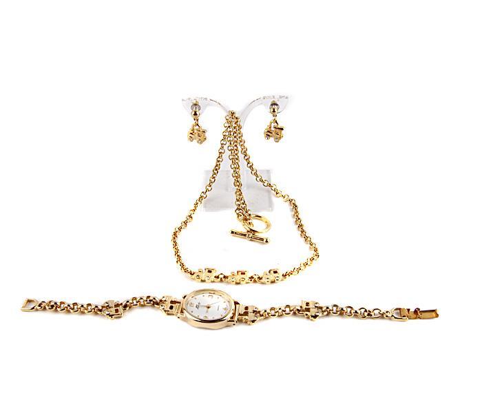 Бижутерный гарнитур Фаберже: наручные часы, колье, серьги. Металл, золочение, японский часовой механизм, австрийские кристаллы. Китай