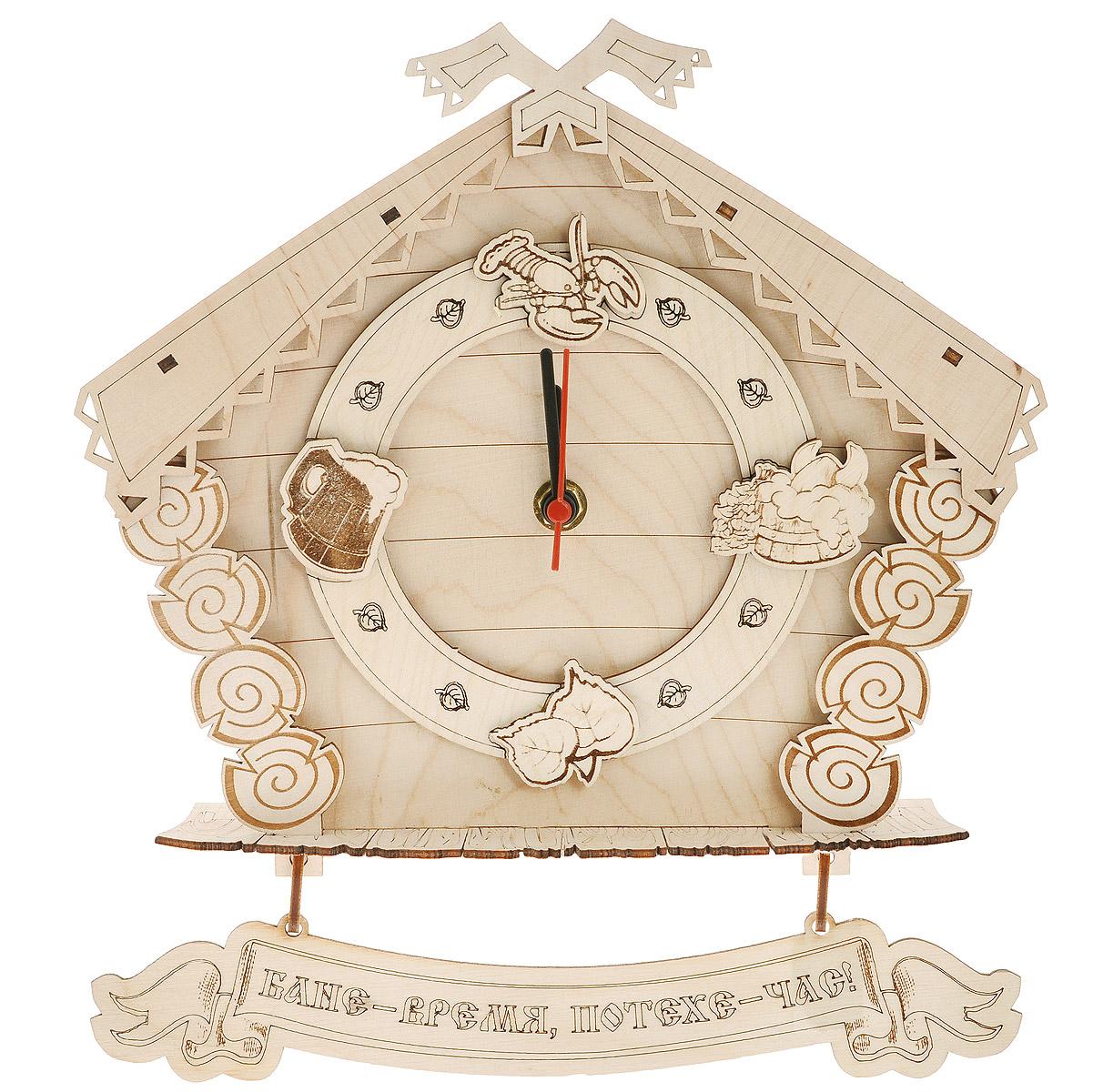 Часы настенные Доктор баня Домик для бани и сауны904727Настенные часы Доктор баня, выполненные из дерева в виде домика, своим дизайном подчеркнут оригинальность интерьера вашей бани или сауны. Циферблат оформлен деревянными фигурками рака, пивной кружки, листьев и ушата с веником. Часы имеют три стрелки - часовую, минутную и секундную. К основанию часов крепится табличка с надписью: Бане - время, потехе - час!  Такие часы послужат отличным подарком для ценителя стильных и оригинальных вещей. Характеристики: Материал: дерево (береза), пластик. Размер корпуса часов (Ш х Д х В): 25 см х 6 см х 22 см. Диаметр циферблата: 13,5 см. Размер таблички: 24,5 см х 4,5 см. Рекомендуется докупить батарейку типа АА мощностью 1,5V (в комплект не входит).