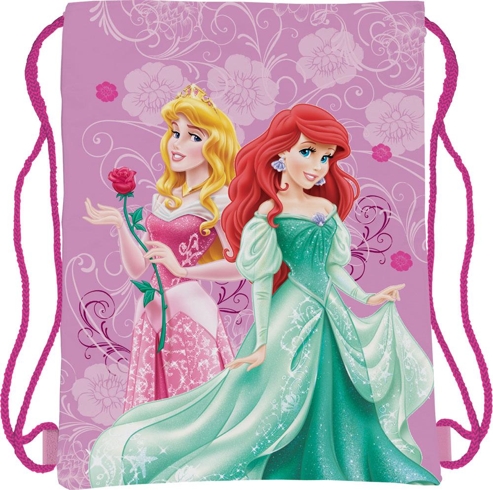 Сумка для сменной обуви Disney Princess, цвет: сиреневый, фуксия3-47670-00504Сумка для сменной обуви Disney Princess идеально подойдет как для хранения, так и для переноски сменной обуви и одежды. Сумка выполнена из мягкого водоотталкивающего материала и дополнена одним вместительным отделением, затягивающимся с помощью текстильного шнурочка. Шнурки фиксируются в нижней части сумки, благодаря чему ее можно носить за спиной как рюкзак. Оформлено изделие ярким принтом с изображением очаровательных диснеевских принцесс.