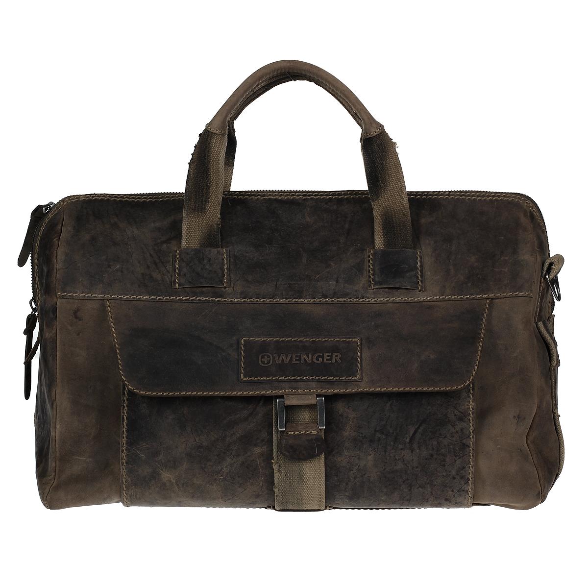 Сумка дорожная мужская Wenger Stonehide, цвет: светло-коричневый. W16-09W16-09Мужская дорожная сумка в стиле casual Wenger Stonehide изготовлена из высококачественной натуральной кожи светло-коричневого цвета. Кожа серии Stonehide - это крепкая, эластичная бычья кожа, обработанная по традиционной технологии - грубые швы, состаренные ремни. Потертый внешний вид делает изделие уникальным и создает специфический эффект старины. Сумка по всей поверхности оформлена стежками бежевого цвета. Сумка имеет одно основное отделение, которое закрывается на застежку-молнию. Внутри содержится два накладных кармашка, два держателя для ручек, вшитый карман на молнии и 6 кармашков для пластиковых карт или визиток. Внутренняя поверхность отделана полиэстером коричневого цвета. С лицевой стороны сумки расположено отделение для планшета, закрывающееся клапаном на магнитную кнопку. С задней стороны сумки расположено дополнительное отделение на молнии. Изделие оснащено двумя удобными короткими ручками и отстегивающимся плечевым ремнем регулируемой длины из плотного...