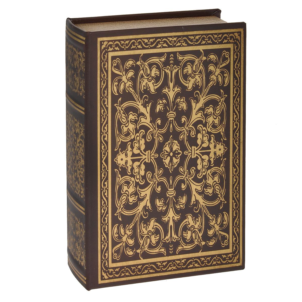 Шкатулка-фолиант Книга Соломона, цвет: коричневый, 21 см х 12 см х 4,5 см. 184159184159Шкатулка-фолиант Книга Соломона выполнена в виде старинной книги. Оригинальное оформление шкатулки, несомненно, привлечет к себе внимание. Поверхность шкатулки-фолианта выполнена из кожзаменителя и оформлена золотистым тиснением. Внутри шкатулка отделана кожзаменителем. Такая шкатулка может использоваться для хранения бижутерии, в качестве украшения интерьера, а также послужит хорошим подарком для человека, ценящего практичные и оригинальные вещицы. Характеристики: Материал: кожзаменитель, МДФ. Размер шкатулки: 21 см х 12 см х 4,5 см. Цвет: коричневый.