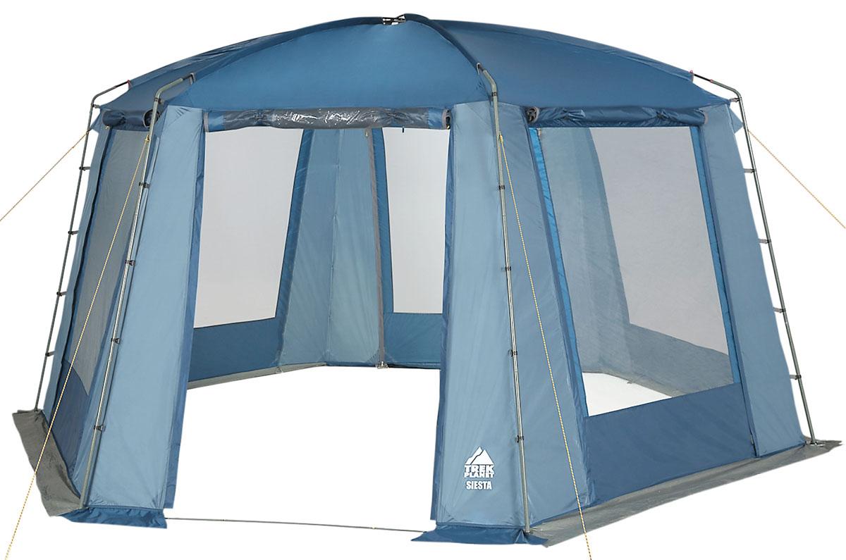 Шатер-тент TREK PLANET SIESTA, шестиугольной формы, 460 см х 400 см х 210 см, цвет: синий, голубой70258Универсальный шатер шестиугольной формы TREK PLANET Siesta с огромным внутренним помещением отлично подойдет как для дачи, так и для кемпинга. При открытых по всему периметру больших окнах - очень хорошо проветривается, а москитная сетка защищает от назойливых комаров и мух. При полностью закрытых шторками окнах - дает 100% защиту от дождя и непогоды. Особенности шатра: - легко собирается и разбирается; - устойчив на ветру; - тент шатра из полиэстера, с пропиткой PU водостойкостью 2000 мм, надежно защитит от дождя и ветра, все швы проклеены; - каркас: боковые стойки из стали, потолочные дуги из прочного стеклопластика; - большие москитные сетки во всю ширину окон и дверей; - защитные шторы на каждом окне и двери; - два входа в шатер; - защитным полог по всему периметру защищает от ветра, дождя и насекомых; - возможность подвески фонаря в палатке. - диаметр стальных боковых стоек палатки: 19 мм. ...