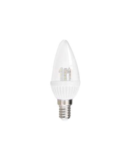 Лампа светодиодная Estares Свеча, холодный белый свет, цоколь Е14, 4,5WC0044701Светодиодная лампа Estares Свеча - инновационный и экологичный продукт, специально разработанный для эффективной замены любых видов галогенных или обыкновенных ламп накаливания во всех типах осветительных приборов. Не имеет вредных излучений UF и IR.