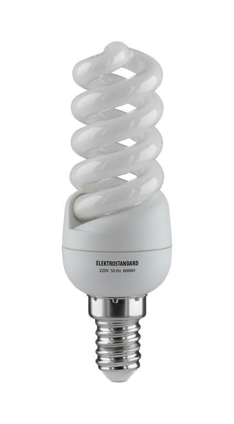 Elektrostandard лампа энергосберегающая Микро винт, теплый свет, цоколь Е14, 11Wa023974Энергосберегающая лампа Электростандарт Микро винт способствует расслаблению, ее лучше использовать в спальнях, местах отдыха. Сфера применения энергосберегающей лампы Электростандарт та же, что и у лампы накаливания, но данная лампа имеет ряд преимуществ: температура колбы ниже, чем у ламп накаливания, что позволяет использовать энергосберегающие лампы в тканевых абажурах без риска их выцветания и возникновения пожара; полностью заменяет галогенные и обычные лампы накаливания. Лампа обладает высоким индексом цветопередачи Ra >80. Это означает, что все цвета объектов, освещаемые лампой, выглядят естественно и натурально. Лампа оборудована системой плавного запуска, позволяющего лампе загораться постепенно в течение 1-2 секунд. Электронное пускорегулирующее устройство не вызывает стробоскопического эффекта при работе лампы, что оказывает благоприятное воздействие на глаза человека и его нервную систему Напряжение: 220 вольт