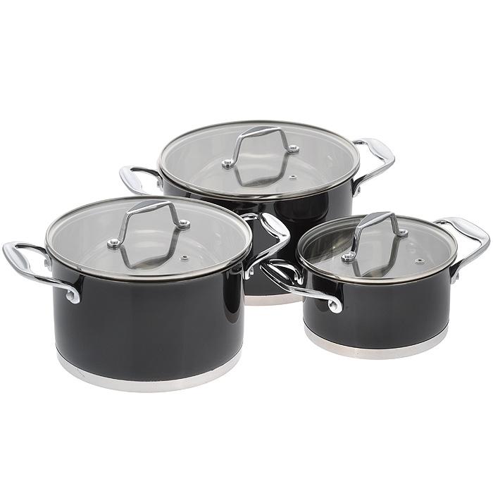 Набор посуды Rainstahl, цвет: черный, 6 предметов. 1063RSBKCM000001328Характеристики: Материал: нержавеющая сталь, стекло. Объем кастрюль: 1,7 л, 3,7 л, 4,9 л. Внутренний диаметр кастрюль: 16 см, 20 см, 22 см. Высота стенки кастрюль: 8,5 см, 12 см, 13 см. Толщина стенок посуды: 0,3 см. Толщина дна посуды: 0,7 см.УВАЖАЕМЫЕ КЛИЕНТЫ!Обращаем ваше внимание на тот факт, что объем посуды указан максимальный, с учетомполного наполнения до кромки. Шкала на внутренней стенке посуды имеет меньшийлитраж.