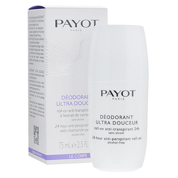 Payot Дезодорант роликовый для тела, женский, 75 мл65090579Безалкогольный антиперсперант обеспечивает гигиену в течение дня, прекрасно смягчает и успокаивает кожу после эпиляции и бритья. Наносите дезодорант на чистую сухую кожу подмышек.