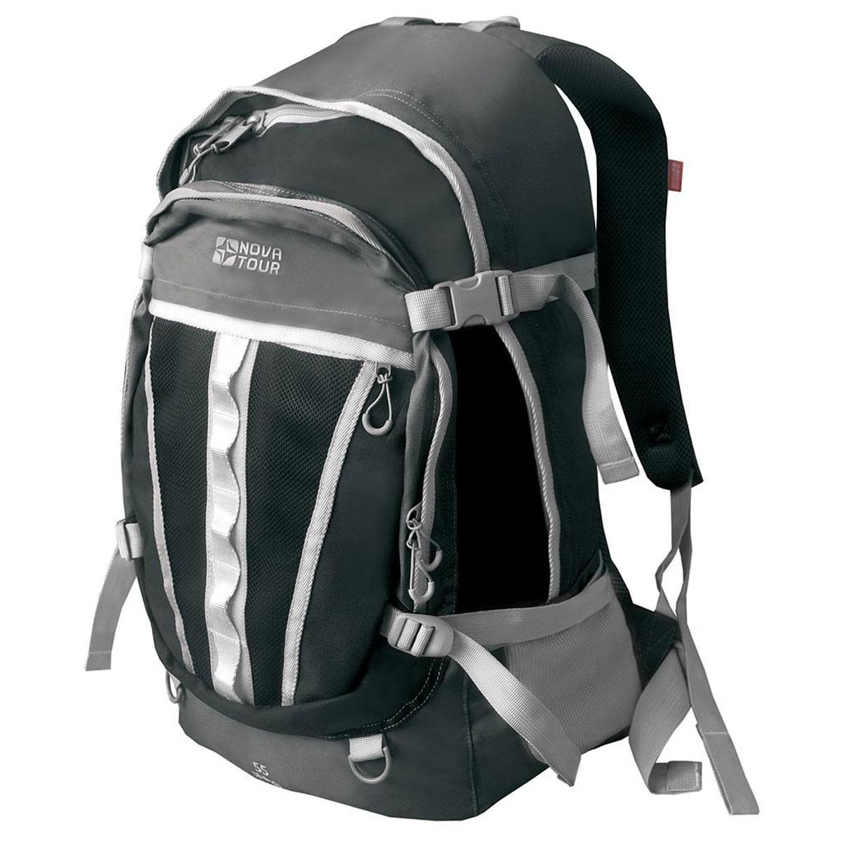 Рюкзак городской Nova Tour Слалом 55 V2, цвет: черный. 95138-902-00RD-418-1/4Если все, что нужно ежедневно носить с собой, не помещается в обычный рюкзак, то Слалом 55 V2 специально для вас. Два вместительных отделения можно уменьшить боковыми стяжками или наоборот, если что-то не поместилось внутри, навесить снаружи на узлы крепления. Для удобства переноски тяжелого груза, на спинке предусмотрена удобная система подушек Air Mesh с полностью отстегивающимся поясным ремнем.Особенности:Прочная ткань с непромокаемой пропиткой.Сетчатый материал, отводящий влагу от вашего тела. Применяется на лямках, спинках и поясе рюкзака.Грудная стяжка для правильной фиксации лямок рюкзака и предотвращения их соскальзывания.Органайзер позволяет рационально разместить мелкие вещи внутри рюкзака.Объем: 55 л.