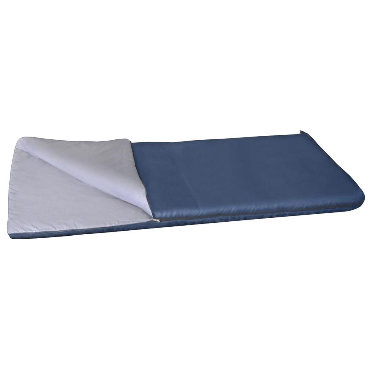 Спальный мешок-одеяло Alaska Одеяло +15 °С, цвет: синий, левосторонняя молния. 95217-405-0003/1/12Спальный мешок Одеяло +15 - один из самых недорогих, летний спальный мешок для самого экономного туриста. Основное отличие от остальных спальных мешков категории одеяло - это конечно цена! Даже отсутствие в комплекте компрессионного мешка обусловлено исключительно стремлением сделать цену спальника для комфортного отдыха на природе максимально доступной. Несмотря на низкую стоимость, спальный мешок Одеяло +15 отвечает всем требованиям к современным спальникам, обеспечивает достойный, комфортный отдых и максимальную простоту в обслуживании. Материал известного утеплителя Холлофайбер проверен многолетним опытом эксплуатации спальников более ранних моделей. Спальный мешок Одеяло +15 - это дежурный спальник для дачи, его можно постоянно возить в багажнике авто на всякий пожарный случай, можно укрыть нежданных гостей расстегнув спальник и превратив его в полноценное одеяло.Вывод: спальник Одеяло +15 - простой, надежный, дешевый спальный мешок на все случаи жизни.Ткань верха: Политафета 170Т.Внутренняя ткань: Политафета 170Т.Для одеял без подголовника Alaska Одеяло +15 °С левая или правая молния не имеет значения, они состегиваются.