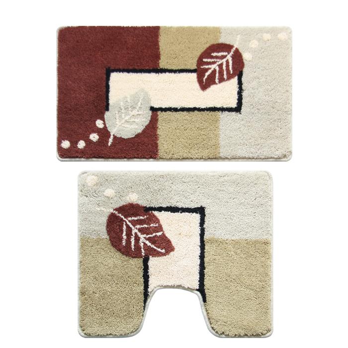 Набор ковриков для ванной комнаты Milardo Late Autumn, 2 шт340PA68M13Набор Milardo Late Autumn включает два коврика для ванной комнаты: прямоугольный и с вырезом. Коврики изготовлены из полиэстера и акрила. Это экологически чистый, быстросохнущий, мягкий и износостойкий материал. Изделия оформлены изображением листьев; красители устойчивы, поэтому рисунок не потеряет цвет даже после многократных стирок в стиральной машине. Благодаря латексной основе коврики не скользят на полу. Края изделий обработаны оверлоком. Можно использовать на полу с подогревом. Рекомендации по уходу: - Разрешена стирка в стиральной машине при температуре 40°С при щадящем режиме отжима. - Нельзя гладить. - Нельзя отбеливать. - Химчистка запрещена.