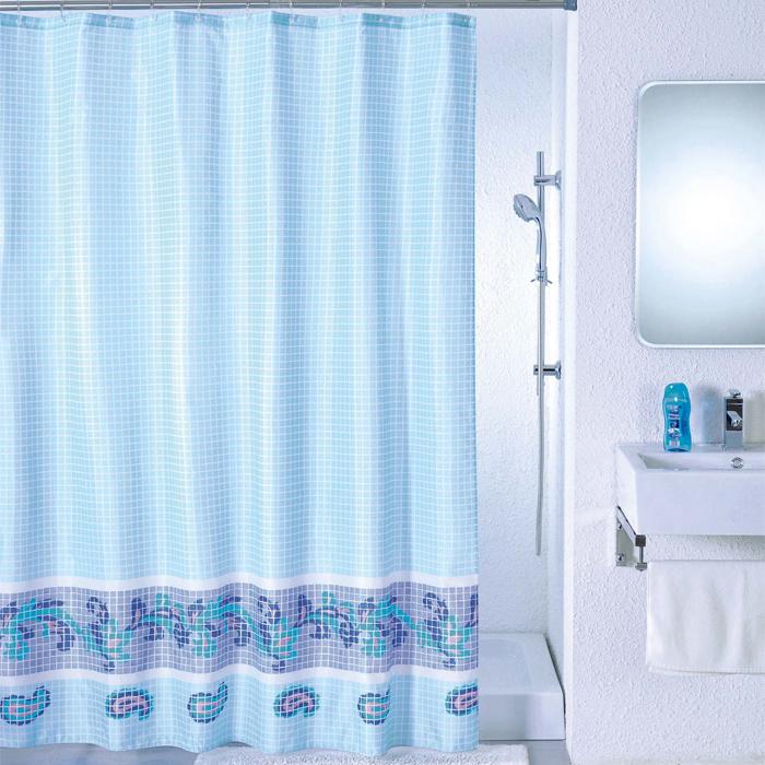 Штора для ванной комнаты Milardo Blue Fresco, 180 см х 200 см. SCMI011P391602Штора для ванной комнаты Milardo, изготовлена из полиэстера с водоотталкивающей пропиткой, декорирована изображением фрески с витиеватым узором. Штора быстро сохнет, легко моется (разрешена деликатная стирка в стиральной машине при температуре 30°С без отжима) и обладает повышенной износостойкостью, благодаря двойной обработке краев и устойчивым красителям. Вверху предусмотрены металлические люверсы. В комплекте также имеется 12 пластиковых колец. Штора для ванной Milardo порадует вас своим ярким дизайном и добавит уюта в ванную комнату.
