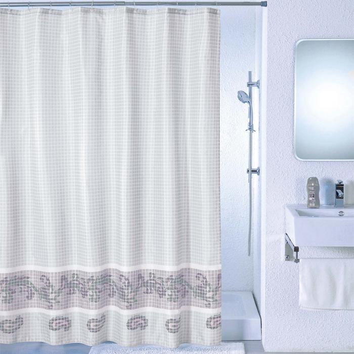 Штора для ванной комнаты Milardo Grey Fresco, 180 х 200 см SCMI012P80653Штора для ванной комнаты Milardo, изготовлена из полиэстера с водоотталкивающей пропиткой, декорирована изображением фрески с витиеватым узором. Штора быстро сохнет, легко моется (разрешена деликатная стирка в стиральной машине при температуре 30°С без отжима) и обладает повышенной износостойкостью, благодаря двойной обработке краев и устойчивым красителям. Вверху предусмотрены металлические люверсы. В комплекте также имеется 12 пластиковых колец. Штора для ванной Milardo порадует вас своим ярким дизайном и добавит уюта в ванную комнату.