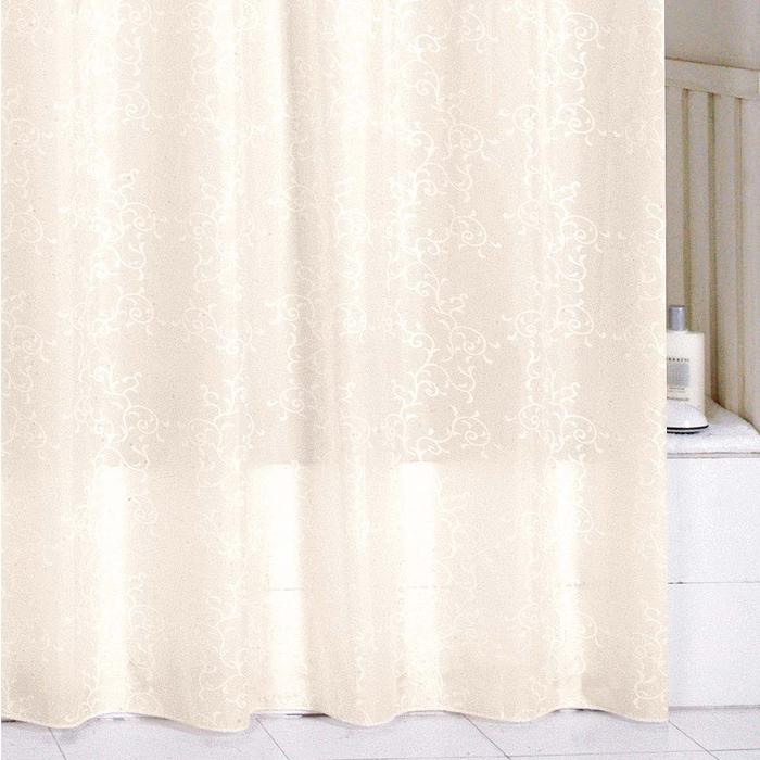 Штора для ванной комнаты Milardo Biege Leaf, 180 см х 200 см. SCMI082PSCMI082PШтора для ванной комнаты Milardo, изготовлена из полиэстера с водоотталкивающей пропиткой, декорирована витиеватым рисунком. Штора быстро сохнет, легко моется (разрешена деликатная стирка в стиральной машине при температуре 30°С без отжима) и обладает повышенной износостойкостью, благодаря двойной обработке краев и устойчивым красителям. Вверху предусмотрены металлические люверсы. В комплекте также имеется 12 пластиковых колец. Штора для ванной Milardo порадует вас своим ярким дизайном и добавит уюта в ванную комнату.