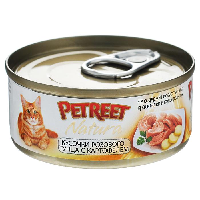 Консервы для кошек Petreet Natura, с кусочками розового тунца и картофелем, 70 гА53066Полноценный сбалансированный корм для взрослых кошек всех пород. Консервы Petreet в виде нежного паштета изготовлены исключительно из натуральных продуктов и не оставят равнодушным ни одного питомца. В их состав входит до 64% основного компонента - мяса тунца, а это значит, что продукт богат протеином - источником бодрости вашей кошки. Для поддержания здоровья внутренних органов и зрения в состав консервов входит аргинин, таурин и незаменимые жирные кислоты Омега 3 и Омега 6. Идеально подходит для кастрированных и стерилизованных кошек. Некоторые виды содержат рис, восполняющий недостаток витамина В. В состав консервов входят различные деликатесные добавки в виде морепродуктов, овощей и фруктов, так что можно легко выбрать подходящий вариант даже для самой привередливой кошки Основу консервов Petreet Natura с кусочками розового тунца и кальмарами, нежное розовое мясо стейковой части тунца с добавлением картофеля. При умеренной калорийности в корме содержится высокий уровень...
