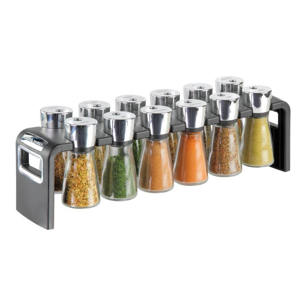 Набор для специй Cole & Mason Shaw на полочке, 13 предметовH100959Набор Cole & Mason Shaw состоит из 12 баночек для специй и настольной полочки. Баночки выполнены из прозрачного стекла и имеют надежно завинчивающиеся пластиковые крышки. В емкостях размещены специи для приготовления различных блюд: - шалфей; - базилик; - майоран; - фенхель; - корица; - тимьян; - душица; - кориандр; - розмарин; - мята; - петрушка; - чили. Баночки компактно размещаются на специальной полочке из черного пластика и надежно удерживаются на ней благодаря специальным выемкам. По бокам полочки имеются отверстия для удобной ее переноски. Очень удобно, когда во время приготовления пищи все приправы под рукой! Набор для специй станет отличным подарком каждой хозяйке. Размер подставки: 39 см х 8,5 см х 11 см. Диаметр дна баночки: 4 см. Диаметр баночки (по верхнему краю): 2,5 см. Высота баночки (с учетом крышки): 10,5 см.