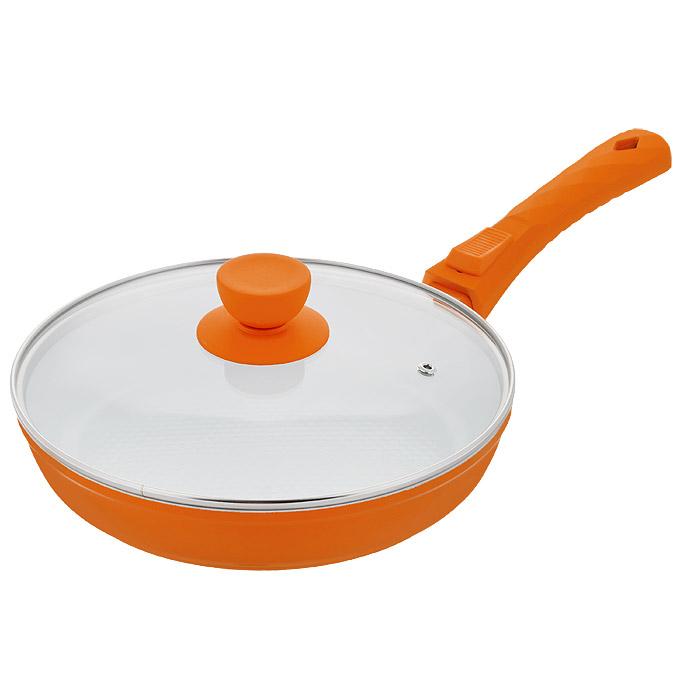 Сковорода Bohmann с крышкой, со съемной ручкой, с керамическим покрытием, цвет: оранжевый. Диаметр 22 см. 7022BH/2WCCM000001326Сковорода Bohmann изготовлена из литого алюминия с антипригарным керамическим покрытием. Антипригарное покрытие содержит 5 слоев: - бесцветное огнеупорное покрытие, - жаропрочный базовый слой, - алюминий, - керамический базовый слой, - керамический защитный слой. Внешнее покрытие - жаростойкий лак, который сохраняет цвет долгое время и обладает жироотталкивающими свойствами. Благодаря керамическому покрытию, пища не пригорает и не прилипает к поверхности сковороды, что позволяет готовить с минимальным количеством масла. Кроме того, такое покрытие абсолютно безопасно для здоровья человека, так как не содержит вредной примеси PTFE. Рифленая внутренняя поверхность сковороды в виде сот обеспечивает быстрое и легкое приготовление. Достоинства керамического покрытия: - устойчивость к высоким температурам и резким перепадам температур, - устойчивость к царапающим кухонным принадлежностям и абразивным моющим средствам,- устойчивость к коррозии, - водоотталкивающий эффект, - покрытие способствует испарению воды во время готовки, - длительный срок службы, - безопасность для окружающей среды и человека. Сковорода быстро разогревается, распределяя тепло по всей поверхности, что позволяет готовить в энергосберегающем режиме, значительно сокращая время, проведенное у плиты. Сковорода оснащена съемной ручкой, выполненной из пластика с прорезиненным покрытием. Такая ручка не нагревается в процессе готовки и обеспечивает надежный хват. Крышка изготовлена из жаропрочного стекла, оснащена ручкой, отверстием для выпуска пара и металлическим ободом. Благодаря такой крышке, можно следить за приготовлением пищи без потери тепла. Можно готовить на газовых, электрических, стеклокерамических, галогенных, индукционных плитах. Подходит для чистки в посудомоечной машине.Высота стенки: 4,5 см.Длина ручки: 18 см.Диаметр индукционного диска: 14 см.