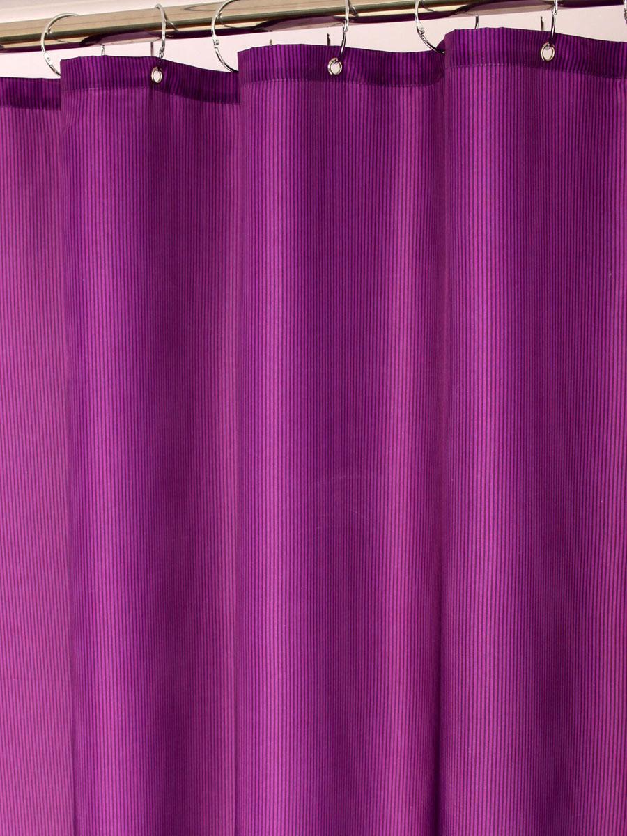 Штора для ванной White Fox Пурпур, с крючками, цвет: фиолетовый, 180 см х 200 смWBCH10-113Штора для ванной White Fox Пурпур изготовлена из полиэстера с водоотталкивающей и антибактериальной пропиткой. В нижний край шторы вшит неметаллический утяжелитель змейка. Он не ржавеет, обладает большой гибкостью и не теряет своих свойств после стирки. Рисунок нанесен по специальной водозащитной технологии, позволяющей максимально долго сохранять первоначальные цвета. В комплект входит 12 крючков из нержавеющей стали. Крючки не требуют особого ухода, удобны для быстрого навешивания и снятия шторы с карниза. Шарики в верхней части крючка позволяют более плавно перемещать штору по карнизу. Штора и крючки составляют единую композицию, которая гармонично вписывается в интерьер ванной комнаты. Рекомендации по уходу: Штора удобна и проста в уходе. Ее можно стирать при температуре до 30°C и гладить при температуре до 110°C.