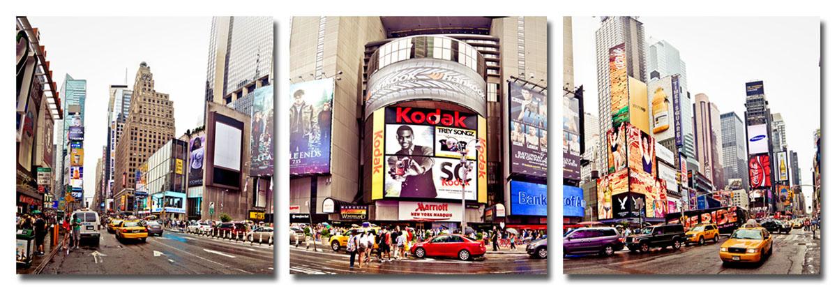 Канвас триптих Idea Город, 150 см х 50 смIDEA CT2-04Канвас - это ткань (полиэстер) с художественной фотопечатью, натянутая на деревянный каркас. Триптих включает три элемента, которые образуют единый рисунок. Такое изделие - оригинальный декоративный элемент, способный преобразить любой интерьер. Картина оформлена красочным изображением главной улицы Нью-Йорка - Пятое Авеню. С задней стороны имеются петельки для подвешивания к стене. Элементы следует размещать на стене, оставляя между ними небольшой промежуток. Стильный, современный дизайн, а также яркие и насыщенные цвета сделают эту картину прекрасным дополнением интерьера комнаты.