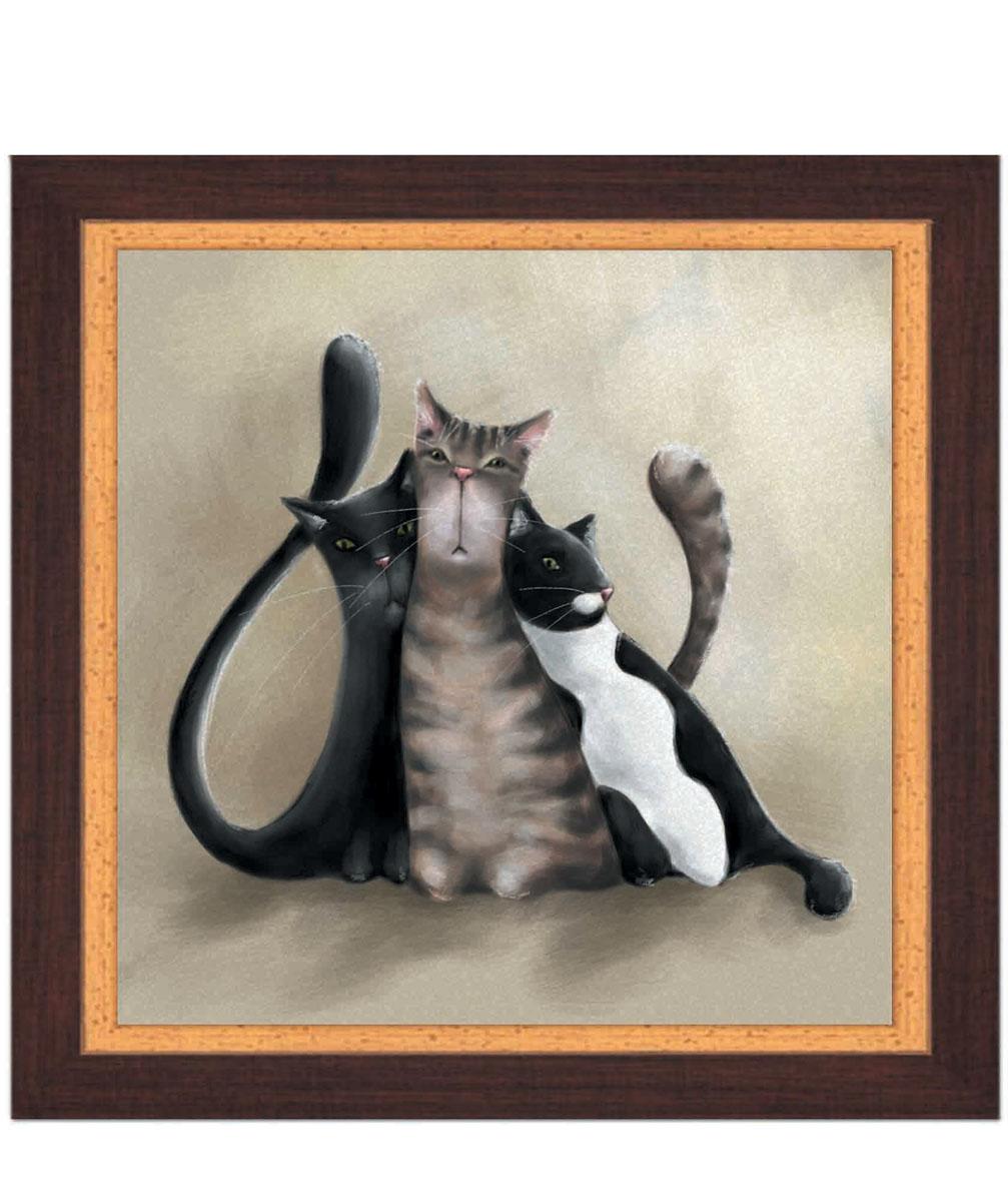 Постер в раме Postermarket Три кота, 30 х 30 смU210DFКартина для интерьера (постер) - современное и актуальное направление в дизайне любых помещений.Постер с красочным изображением трех забавных котов оформлен в раму коричневого цвета, выполненную из пластика под дерево. Картина защищена прозрачным пластиком. С задней стороны имеется петелька для подвешивания к стене.Картина может использоваться для оформления любых интерьеров: - дом, квартира (гостиная, спальня, кухня, прихожая, детская); - офис (комната переговоров, холл, кабинет); - бар, кафе, ресторан или гостиница. Картины, предоставляемые компанией Постермаркет:- собраны вручную из лучших импортных комплектующих; - надежно упакованы в пленку с противоударными уголками.