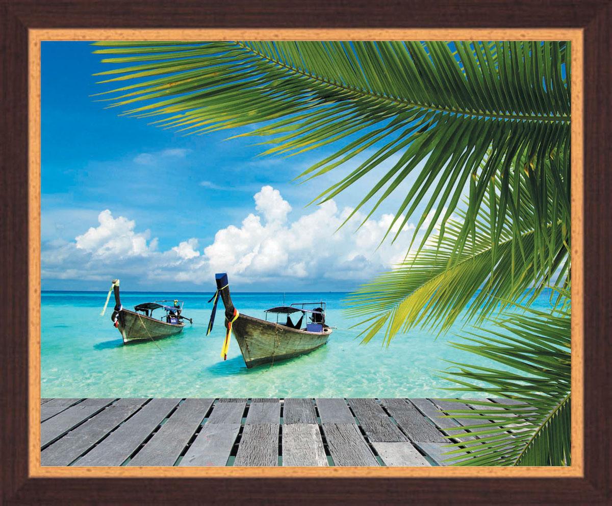 Постер в раме Postermarket Лодки, 50 х 40 смU210DFКартина для интерьера (постер) - современное и актуальное направление в дизайне любых помещений.Постер с красочным изображением лодок на тропическом побережье оформлен в раму коричневого цвета, выполненную из пластика под дерево. Картина защищена прозрачным пластиком. С задней стороны имеется петелька для подвешивания к стене.Картина может использоваться для оформления любых интерьеров: - дом, квартира (гостиная, спальня, кухня, прихожая, детская); - офис (комната переговоров, холл, кабинет); - бар, кафе, ресторан или гостиница. Картины, предоставляемые компанией Постермаркет:- собраны вручную из лучших импортных комплектующих; - надежно упакованы в пленку с противоударными уголками.