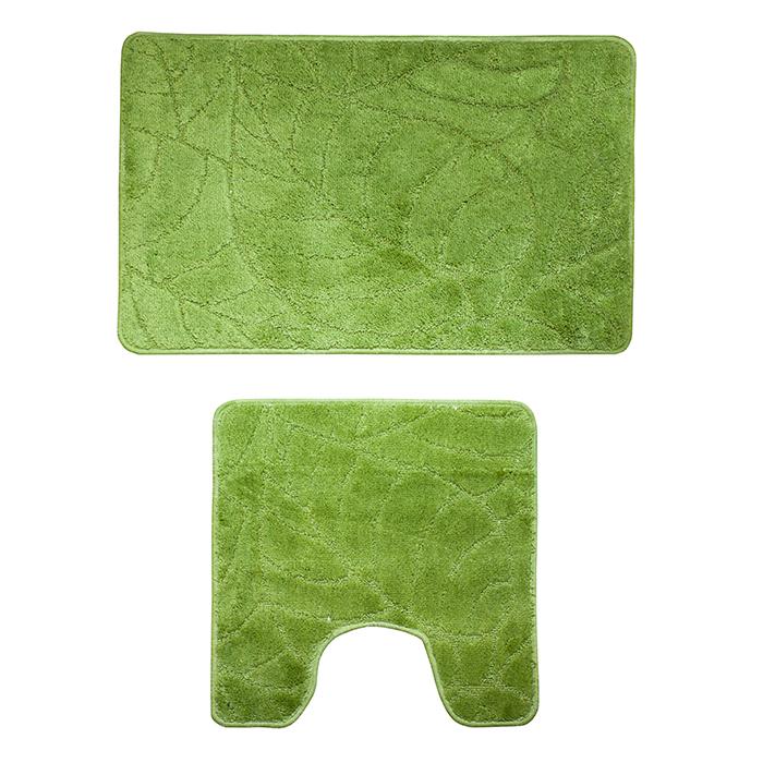 Набор ковриков для ванной комнаты Milardo Summer heights, цвет: зеленый, 2 шт500PA58M13Набор Milardo Summer heights включает два коврика для ванной комнаты: прямоугольный и с вырезом. Коврики изготовлены из полиэстера и акрила. Это экологически чистый, быстросохнущий, мягкий и износостойкий материал. Красители устойчивы, поэтому коврики не потускнеют даже после многократных стирок в стиральной машине. Благодаря латексной основе коврики не скользят на полу. Края изделий обработаны оверлоком. Можно использовать на полу с подогревом. Рекомендации по уходу: - Разрешена стирка в стиральной машине при температуре 40°С при щадящем режиме отжима. - Нельзя гладить. - Нельзя отбеливать. - Химчистка запрещена.