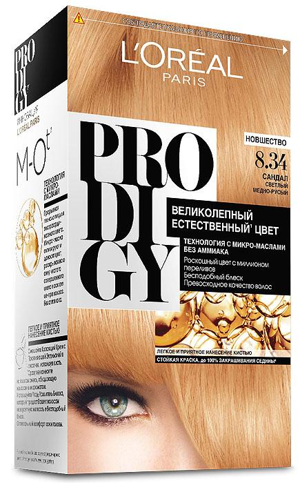 LOreal Paris Краска для волос Prodigy без аммиака, оттенок 8.34, СандалA7672300Prodigy - инновация от Лореаль Париж - прорывная технология окрашивания с микро-маслами для экстраординарного цвета. Новая формула микро-масел с использованием ультратонких красящих пигментов позволяет создавать желаемый цвет, благодаря проникновению краски в самый центр волоса. Инновационная система микро-масел несет эффект сияющих волос за счет разглаживания их структуры по всей длине. В результате цвет получается невероятно насыщенным, с миллионами переливов различных оттенков. Совершенное и безопасное окрашивание без аммиака дает интенсивный стойкий цвет. Здоровые и безупречно гладкие волосы, которые завораживают своим зеркальным блеском и необыкновенно ярким цветом. В состав упаковки входит: красящий крем (60 г); проявляющая эмульсия (60 г); уход-усилитель блеска (60 мл); пара перчаток; инструкция по применению.