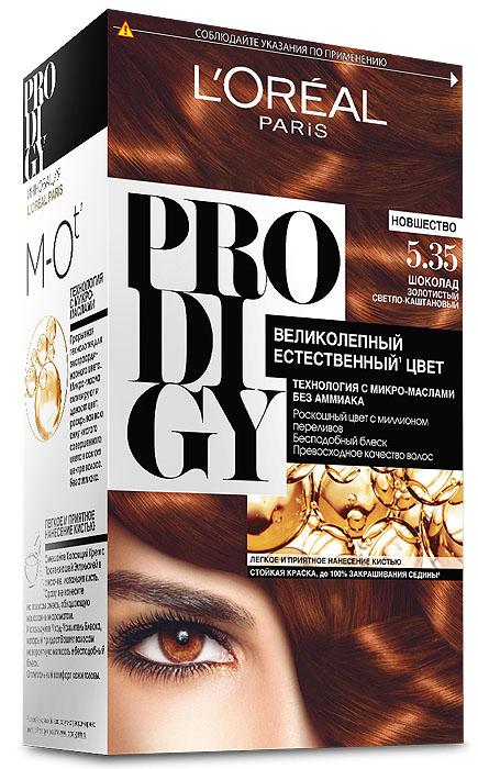 LOreal Paris Краска для волос Prodigy без аммиака, оттенок 5.35, ШоколадA7673400Prodigy - инновация от Лореаль Париж - прорывная технология окрашивания с микро-маслами для экстраординарного цвета. Новая формула микро-масел с использованием ультратонких красящих пигментов позволяет создавать желаемый цвет, благодаря проникновению краски в самый центр волоса. Инновационная система микро-масел несет эффект сияющих волос за счет разглаживания их структуры по всей длине. В результате цвет получается невероятно насыщенным, с миллионами переливов различных оттенков. Совершенное и безопасное окрашивание без аммиака дает интенсивный стойкий цвет. Здоровые и безупречно гладкие волосы, которые завораживают своим зеркальным блеском и необыкновенно ярким цветом. В состав упаковки входит: красящий крем (60 г); проявляющая эмульсия (60 г); уход-усилитель блеска (60 мл); пара перчаток; инструкция по применению.