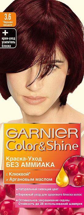 Garnier Краска-уход для волос Color&Shine без аммиака, оттенок 3.6, Черная вишняБ33041_шампунь-барбарис и липа, скраб -черная смородинаGarnier Color&Shineкраска-уход, без аммиака, которая не только бережно ухаживает за волосами, делая их мягкими, но и оптимально закрашивает седину. Она обогащена экстрактом клюквы, признанным антиоксидантом, который продлевает сияние цвета Ваших волос надолго. Благодаря питательным свойствам арганового масла Ваши волосы защищены от сухости, а блеск максимально усилен. Ваши волосы несравненно мягкие, цвет сияющий,стойкий в течение 28 использований шампуня. Узнай больше об окрашивании на http://coloracademy.ru/.В упаковки содержится: флакон с молочком-проявителем (60 мл); тюбик с крем-краской (40 мл); крем-уход усилитель блеска после окрашивания; инструкция; пара перчаток.