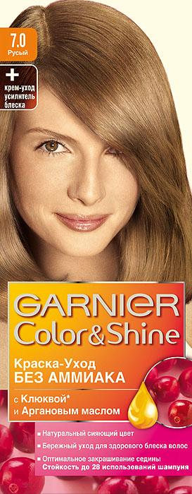 Garnier Краска-уход для волос Color&Shine без аммиака, оттенок 7.0, РусыйC2854811Garnier Color&Shineкраска-уход, без аммиака, которая не только бережно ухаживает за волосами, делая их мягкими, но и оптимально закрашивает седину. Она обогащена экстрактом клюквы, признанным антиоксидантом, который продлевает сияние цвета Ваших волос надолго. Благодаря питательным свойствам арганового масла Ваши волосы защищены от сухости, а блеск максимально усилен. Ваши волосы несравненно мягкие, цвет сияющий,стойкий в течение 28 использований шампуня. Узнай больше об окрашивании на http://coloracademy.ru/. В упаковки содержится: флакон с молочком-проявителем (60 мл); тюбик с крем-краской (40 мл); крем-уход усилитель блеска после окрашивания; инструкция; пара перчаток.