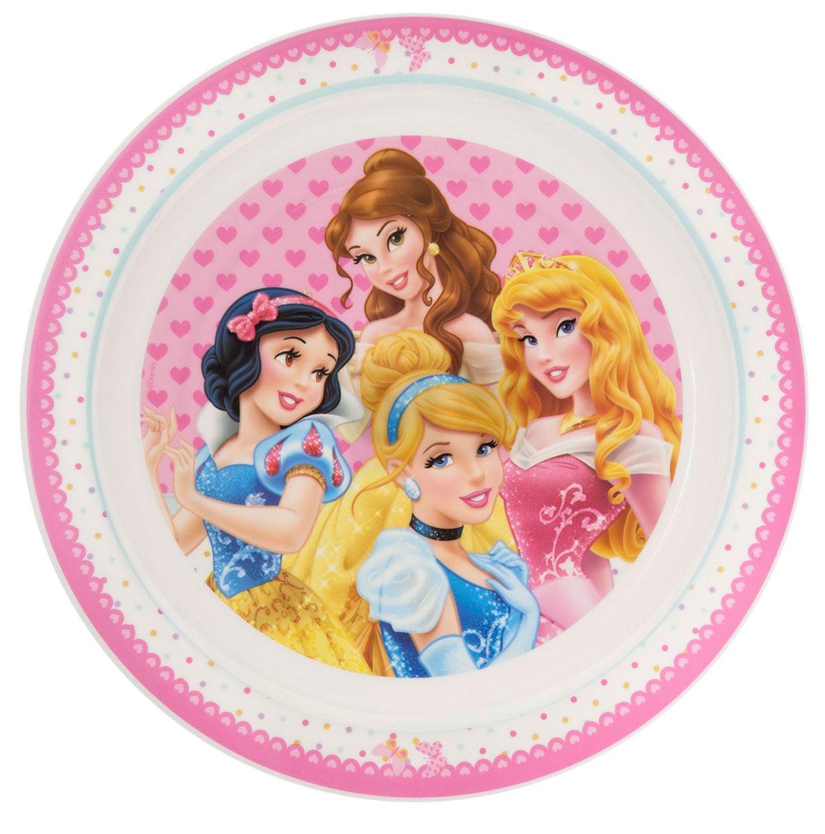 Тарелка большая Stor Принцесса, цвет: розовый, белый17355Большая яркая тарелка Stor Принцесса идеально подойдет для кормления малыша и самостоятельного приема им пищи. Тарелка выполнена из безопасного полипропилена белого и розового цветов, дно оформлено изображением очаровательных принцесс - героинь диснеевских мультфильмов. Тарелка подходит для горячей и холодной пищи, также ее можно разогревать в микроволновой печи.