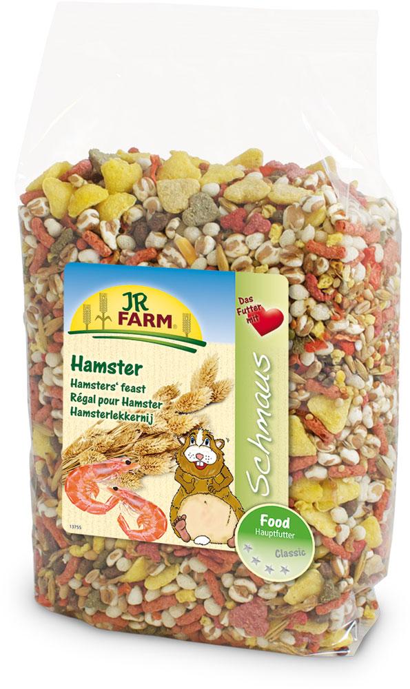 Корм для хомяков JR Farm Classic, 600 г36907/13678Смесь JR Farm Classic является натуральным полноценным кормом для всех хомяков. Универсальная премиальная смесь с дикими семенами и с большим количеством животного белка была специально разработана для хомяков и удобна для переноса хомяками в их щеках- мешках. С большим количеством овощей, витаминов и минералов для здорового образа жизни, полной сил! Рекомендации по кормлению: просто пополняйте кормушку, когда она становится пустой. Пожалуйста, давайте животному такое количество еды, которое он съедает в течение 24 часов. Состав: кукурузная мука, пшеница, кукуруза, овес, красное просо, желтое просо, воздушная пшеница, сорго двухцветное, морковь, канареечное семя 3%, гречиха, сорго обыкновенное, фасоль, курица, говядина, креветки 1%, сыр, рыба. Основной анализ: протеин 12,9%, жиры 3,1%, клетчатка 6,2%, зола 3,4%. Содержание витаминов на кг: витамин А 10000 МЕ, витамин D 1000 МЕ, витамин Е 40 мг, оксид железа. Товар...