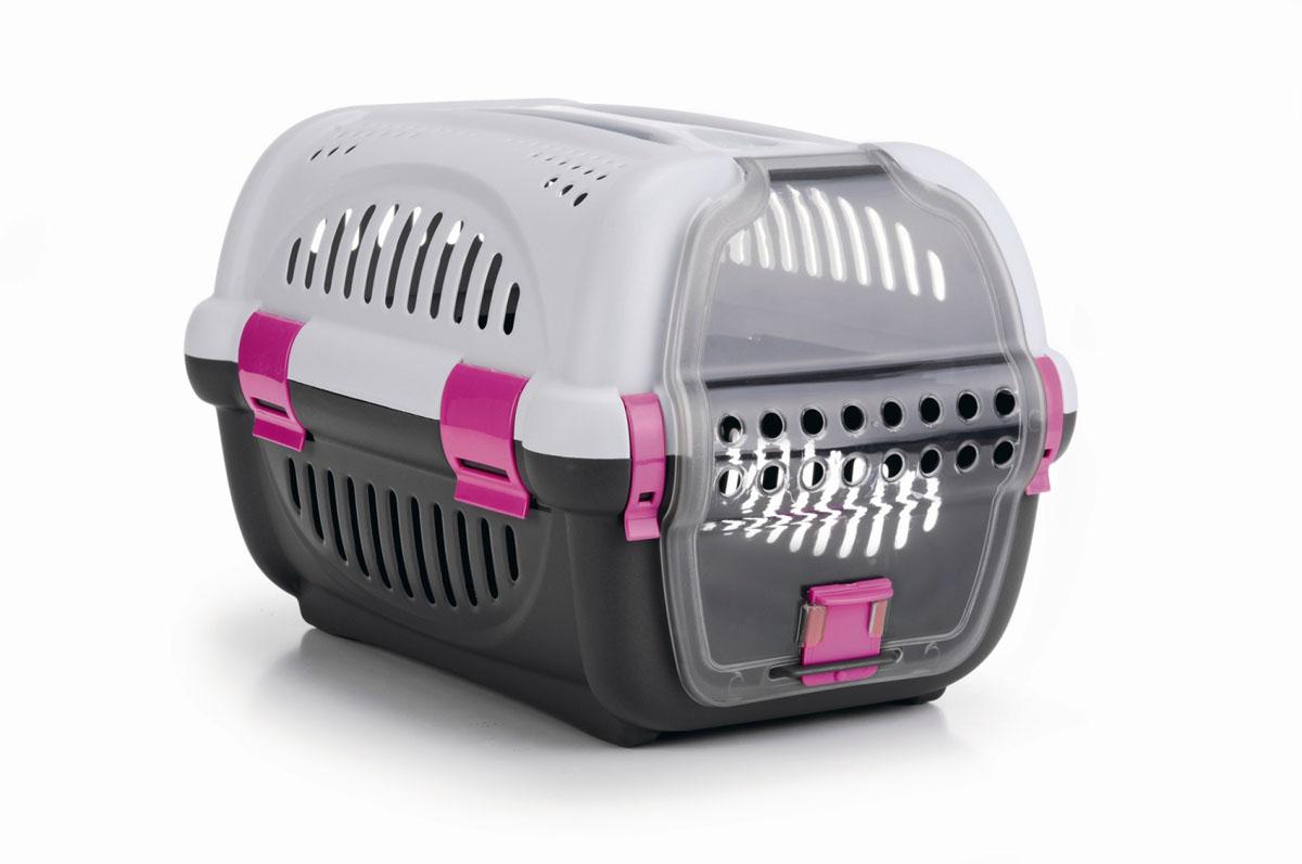 Переноска для животных I.P.T.S., цвет: серый, розовый, 51 см х 36 см х 33 см0120710Легкая и удобная переноска I.P.T.S. идеально подходит для щенков, кошек и других небольших животных (до 8 кг). Дверь открывается вверх, из прозрачного пластика. Воздух циркулирует благодаря пластмассовым решеткам по всему периметру переноски. Прозрачная дверца обеспечивает животному возможность наблюдать за происходящим вокруг.Яркие фрагменты в дизайне переноски добавляют индивидуальности. Размер переноски: 51 см х 36 см х 33 см.