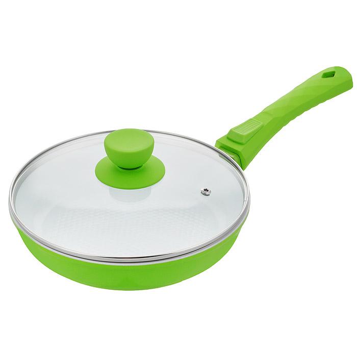 Сковорода Bohmann с крышкой, со съемной ручкой, с керамическим покрытием, цвет: зеленый. Диаметр 24. 7024BH/2WC7024BH/2WC зеленыйСковорода Bohmann изготовлена из литого алюминия с антипригарным керамическим покрытием. Антипригарное покрытие содержит 5 слоев: - бесцветное огнеупорное покрытие, - жаропрочный базовый слой, - алюминий, - керамический базовый слой, - керамический защитный слой. Внешнее покрытие - жаростойкий лак, который сохраняет цвет долгое время и обладает жироотталкивающими свойствами. Благодаря керамическому покрытию пища не пригорает и не прилипает к поверхности сковороды, что позволяет готовить с минимальным количеством масла. Кроме того, такое покрытие абсолютно безопасно для здоровья человека, так как не содержит вредной примеси PTFE. Рифленая внутренняя поверхность сковороды в виде сот обеспечивает быстрое и легкое приготовление. Достоинства керамического покрытия: - устойчивость к высоким температурам и резким перепадам температур, - устойчивость к царапающим кухонным принадлежностям и абразивным моющим средствам, ...