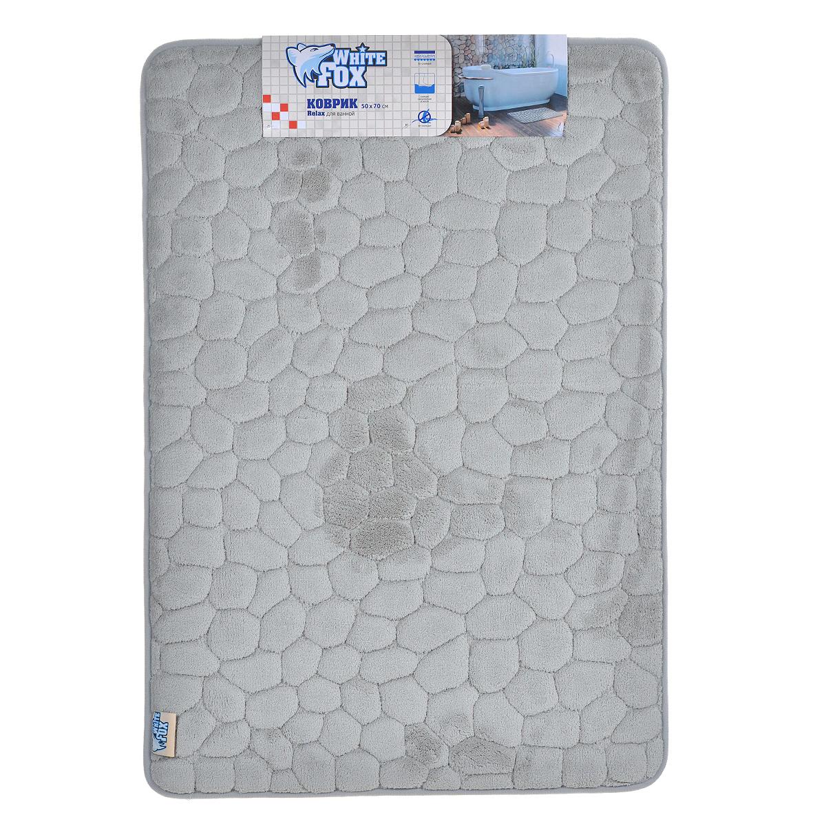 Коврик для ванной White Fox Relax. Камушки, цвет: серый, 50 см х 70 смWBBM20-134Коврик для ванной White Fox Relax. Камушки подарит настоящий комфорт до и после принятия водных процедур. Коврик состоит из трех слоев: - верхний флисовый слой прекрасно дышит, благодаря чему коврик быстро высыхает; - основной слой выполнен из специального вспененного материала, который точно повторяет рельеф стопы, создает комфорт и полностью восстанавливает первоначальную форму; - нижний резиновый слой препятствует скольжению коврика на влажном полу. Коврик White Fox Relax. Камушки равномерно распределяет нагрузку на всю поверхность стопы, снимая напряжение и усталость в ногах. Рекомендации по уходу: - ручная стирка; - не отбеливать; - не гладить; - можно подвергать химчистке; - деликатные отжим и сушка.