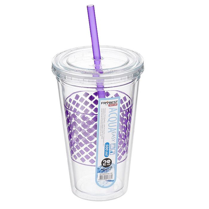 Стакан Frybest Easy, с трубочкой, цвет: фиолетовый, 500 мл. AC1-01AC1-01Стакан Frybest Easy изготовлен из прочного пластика, оформленного цветным рисунком. Благодаря специальной конструкции с двойными стенками горячие и холодные напитки дольше сохраняют свою температуру. Прозрачность материала позволяет видеть содержимое. Материал износостоек и устойчив к царапинам, благодаря этому изделие сохранит свой изначальный вид даже после продолжительного использования. Стакан оснащен плотно закрывающейся крышкой с силиконовой прослойкой и удобной трубочкой. Такой стакан очень удобен в использовании, его можно взять с собой куда угодно: на работу, пикник, в парк, поездку или прогулку. Легкость очистки: благодаря своей форме стакан легко мыть; пригоден для посудомоечной машины.