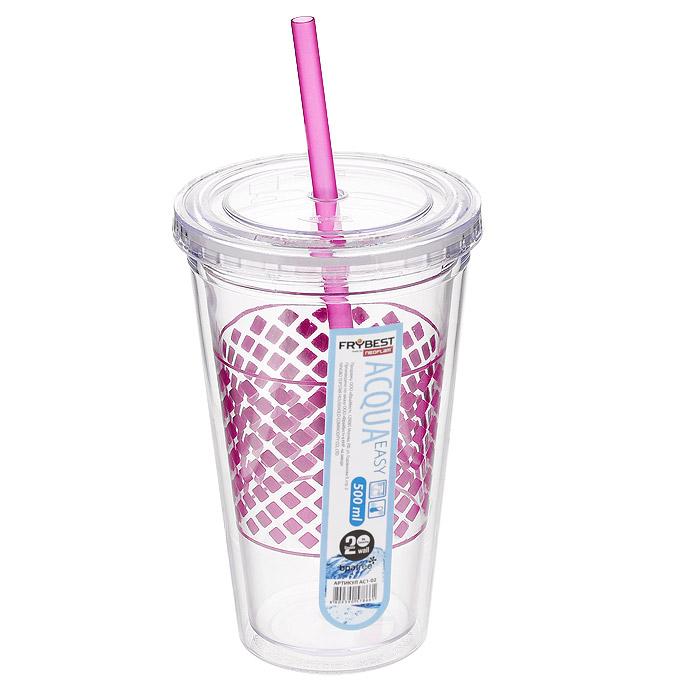 Стакан Frybest Easy, с трубочкой, цвет: розовый, 500 мл. AC1-02VT-1520(SR)Стакан Frybest Easy изготовлен из прочного пластика, оформленного цветным рисунком. Благодаря специальной конструкции с двойными стенками горячие и холодные напитки дольше сохраняют свою температуру. Прозрачность материала позволяет видеть содержимое. Материал износостоек и устойчив к царапинам, благодаря этому изделие сохранит свой изначальный вид даже после продолжительного использования. Стакан оснащен плотно закрывающейся крышкой с силиконовой прослойкой и удобной трубочкой. Такой стакан очень удобен в использовании, его можно взять с собой куда угодно: на работу, пикник, в парк, поездку или прогулку. Легкость очистки: благодаря своей форме стакан легко мыть; пригоден для посудомоечной машины.