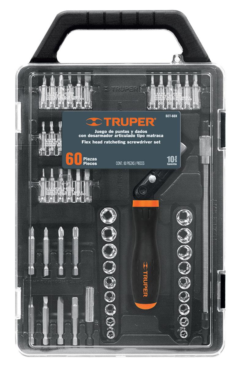 Отвертка с битами Truper, 60 предметов SET-60X