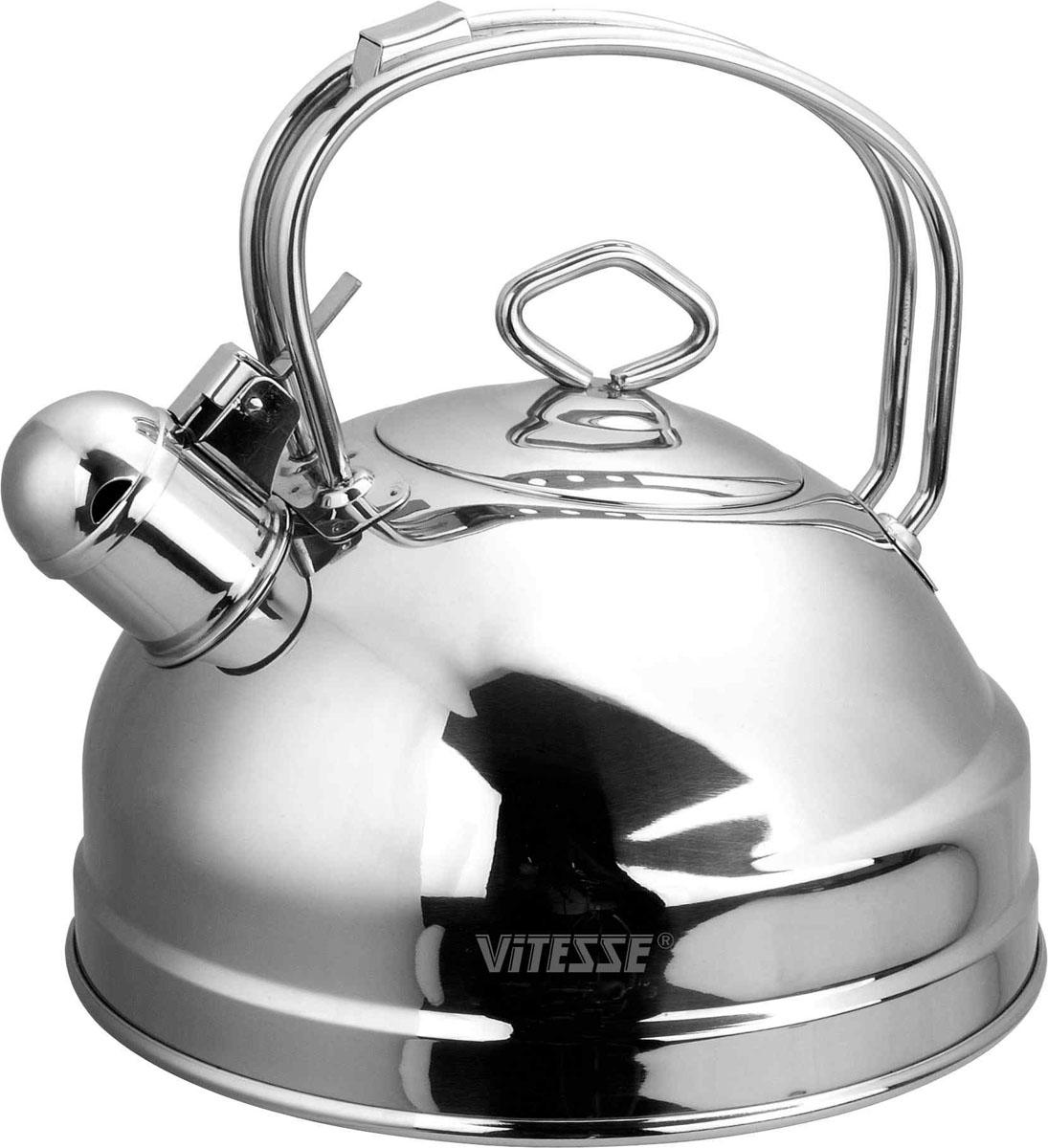 Чайник Vitesse Nayer со свистком, 2,5 лVS-1106Чайник Vitesse Nayer выполнен из высококачественной нержавеющей стали 18/10. Капсулированное дно с прослойкой из алюминия обеспечивает наилучшее распределение тепла. Носик чайника оснащен откидной насадкой-свистком, что позволит вам контролировать процесс подогрева или кипячения воды. Ручка не нагревается, имеет фиксированное положение. Чайник Vitesse Nayer подходит для использования на всех типах плит. Также изделие можно мыть в посудомоечной машине. Характеристики: Материал: нержавеющая сталь 18/10. Диаметр основания чайника: 20 см. Высота чайника (с учетом крышки и ручки): 22 см. Объем: 2,5 л. Размер упаковки: 20,5 см х 20,5 см х 22,5 см. Изготовитель: Китай. Артикул: VS-1106. Кухонная посуда марки Vitesse из нержавеющей стали 18/10 предоставит вам все необходимое для получения удовольствия от...