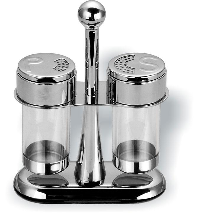 Набор для специй Vitesse Marina, 3 предмета. VS-1626VS-1626Набор для специй Vitesse Marina состоит из солонки, перечницы и подставки. Емкости выполнены из прозрачного акрила и оснащены крышками из нержавеющей стали 18/10 с зеркальной полировкой. Крышка поворачивается. Удобная подставка оснащена ручкой. Эксклюзивный дизайн, эстетичность и функциональность сделают набор незаменимым на любой кухне. Можно мыть в посудомоечной машине. Характеристики: Материал: акрил, нержавеющая сталь 18/10. Высота солонки/перечницы: 10,5 см. Диаметр по верхнему краю: 5 см. Размер подставки (ДхШхВ): 14,5 см х 6,5 см х 18,5 см.